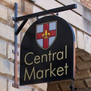 Close up of Lincoln Central Market sign