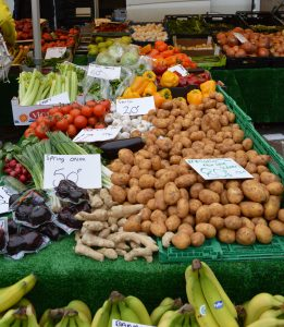 Potatoes and vegetables on sale