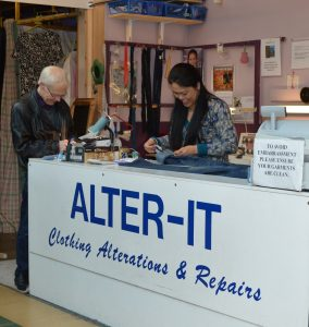 Sewing and repair market stall