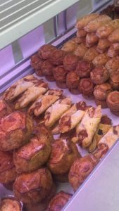 Pasties and pastries on sale